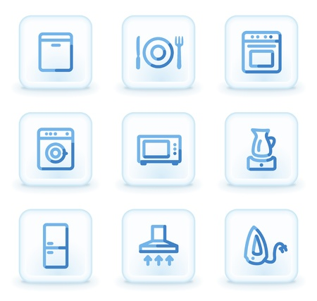 air hole: Home appliances icons,  square ice buttons Illustration