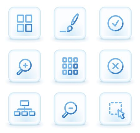Image viewer web icons, square ice buttons Vector