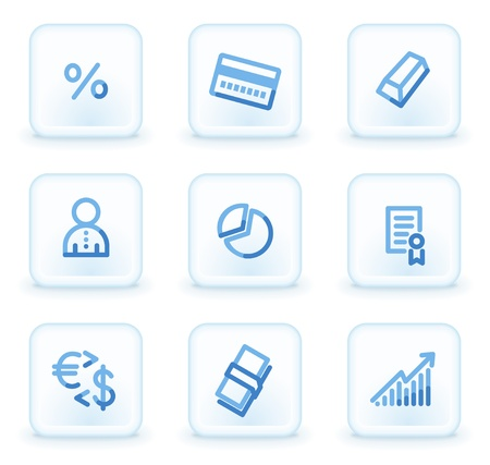 Money  web icons, square ice buttons Stock Vector - 8500342
