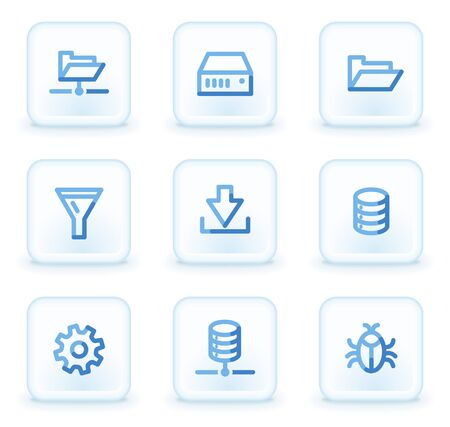 Server web icons, square ice buttons Vector