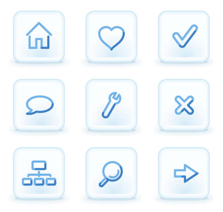 Basic web icons, square ice buttons Vector