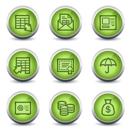 Banking  web icons, green glossy set