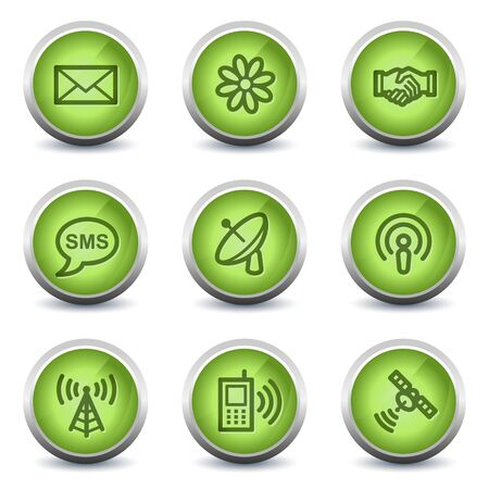 Communication web icons, green glossy set Vector