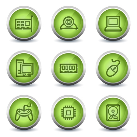 nettop: Computer web icons, green glossy set