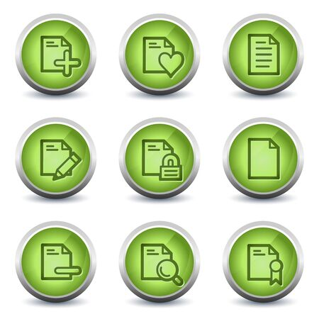 Document web icons set 2, green glossy set Vector