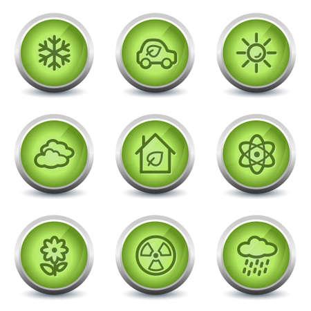 Ecology web icons set 2, green glossy set Vector
