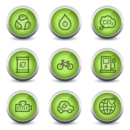 electro world: Ecology web icons set 4, green glossy set