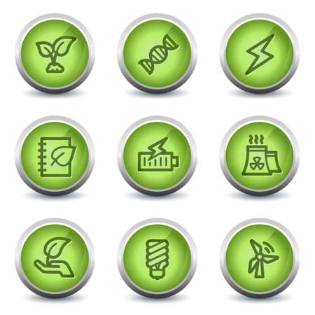 Ecology web icons set 5, green glossy set Stock Vector - 8500252