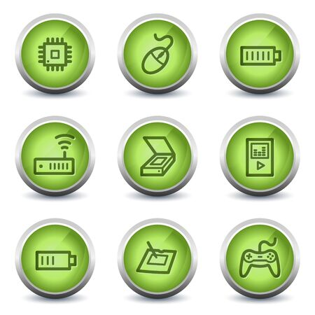 Electronics web icons set 2, green glossy set Stock Vector - 8500254