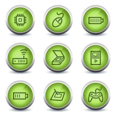 Electronics web icons set 2, green glossy set Stock Vector - 8500254