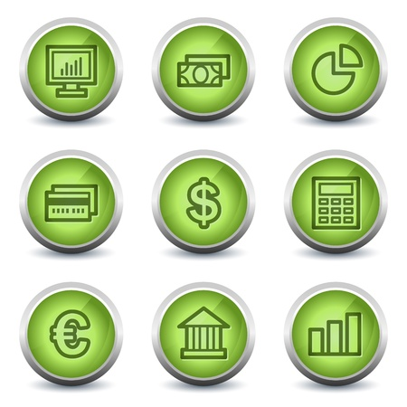 Finance web icons set 1, green glossy set Vector