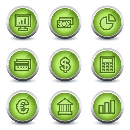 Finance web icons set 1, green glossy set Vector