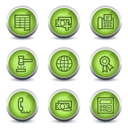 Finance web icons set 2, green glossy set Stock Vector - 8500270