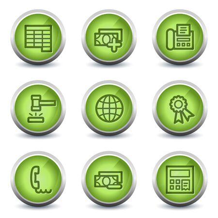 Finance web icons set 2, green glossy set Stock Vector - 8500270