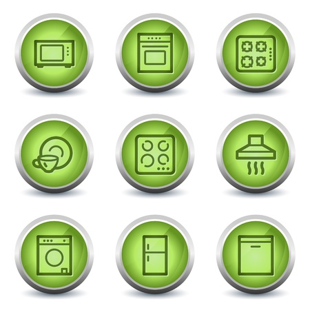 Home appliances web icons, green glossy set Vector