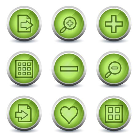 Image viewer web icons set 1, green glossy set Stock Vector - 8500218