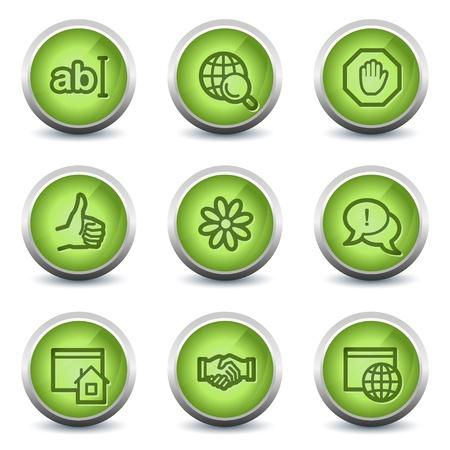Internet web icons set 1, green glossy set Vector