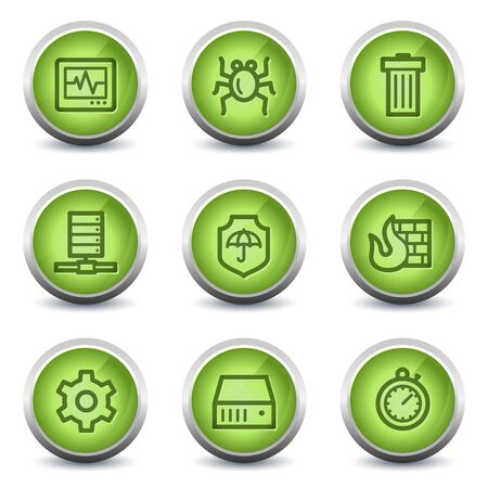 adware: Internet security web icons, green glossy set