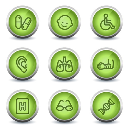 Medicine web icons set 2, green glossy set Vector