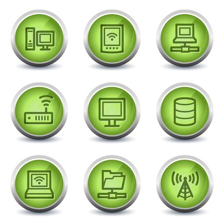 access point: Network web icons, green glossy set