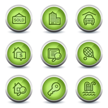 Real estate web icons, green glossy set Stock Vector - 8500300