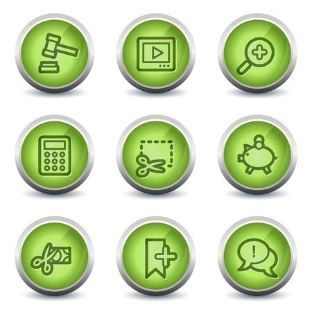 Shopping web icons set 3, green glossy set Vector