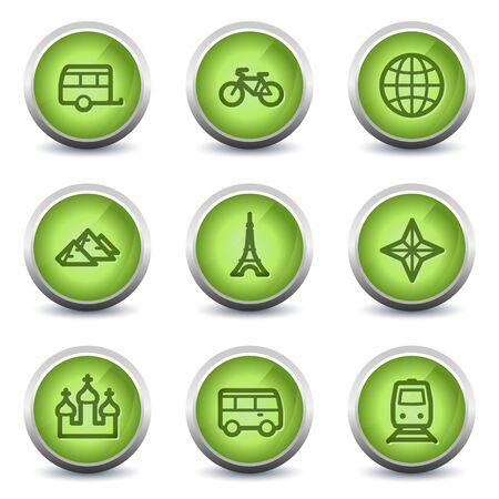 Travel web icons set 2, green glossy set Vector