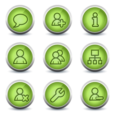 Users web icons, green glossy set Иллюстрация