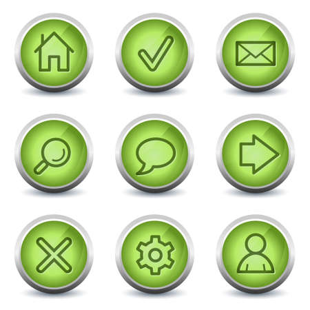 Basic web icons, green glossy set Stock Vector - 8500202