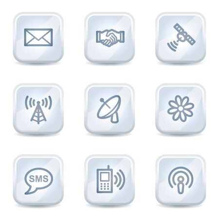 Communication web icons, white glossy buttons Vector
