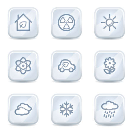 Ecology web icons set 2, white glossy buttons Stock Vector - 8500336