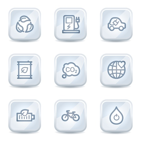 electro world: Ecology web icons set 4, white glossy buttons