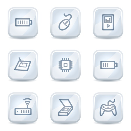 Electronics web icons set 2, white glossy buttons Stock Vector - 8500333