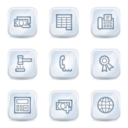 Finance web icons set 2, white glossy buttons Stock Vector - 8500327