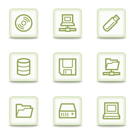 Drives and storage web icons, white glossy buttons Vector