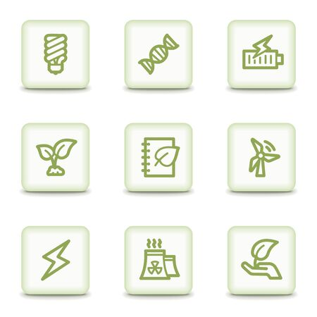 Ecology web icons set 5, white glossy buttons Vector