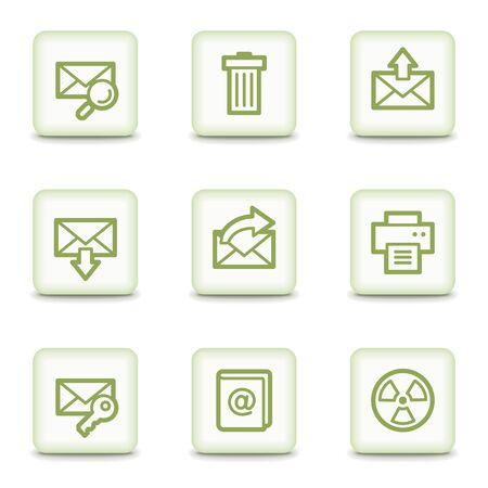 E-mail web icons set 2, white glossy buttons Stock Vector - 8517361