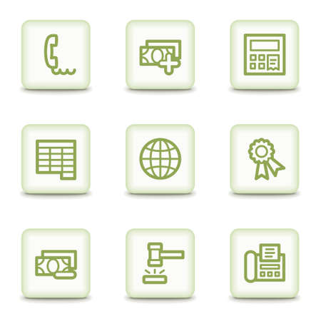 Finance web icons set 2, white glossy buttons Stock Vector - 8517371