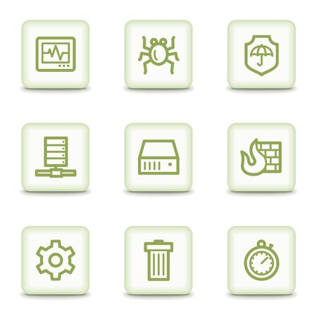 adware: Internet security web icons, white glossy buttons Illustration