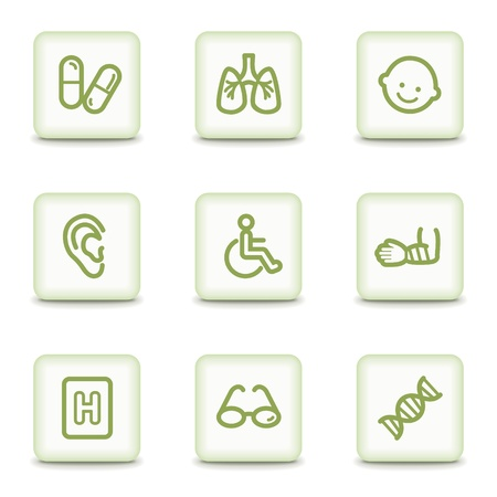 Medicine web icons set 2, white glossy buttons Vector
