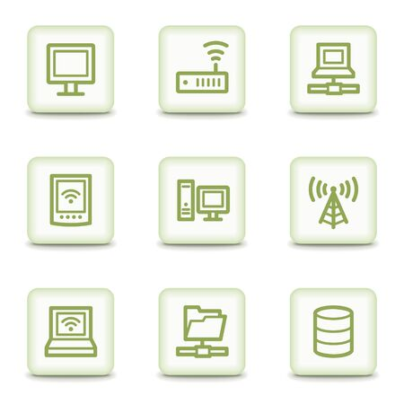 Network web icons, white glossy buttons Stock Vector - 8550743