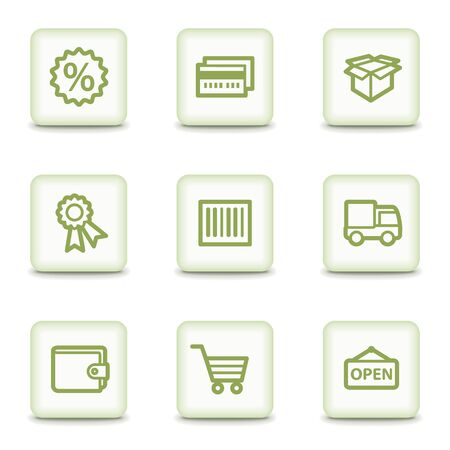 billfold: Shopping web icons set 2, white glossy buttons