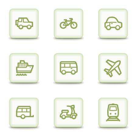air liner: Transport web icons, white glossy buttons Illustration