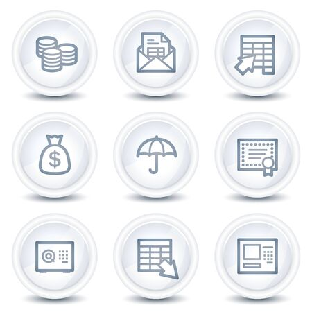 Banking  web icons, white glossy circle buttons Vector