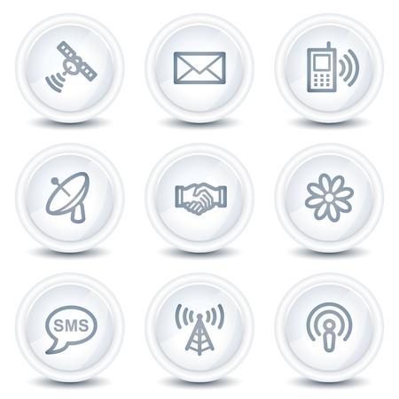антенны: Communication web icons, white glossy circle buttons