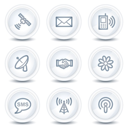 Communication web icons, white glossy circle buttons Vector