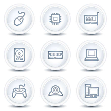 Computer web icons, white glossy circle buttons Stock Vector - 8646550
