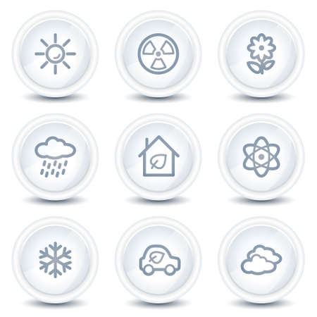 Ecology web icons set 2, white glossy circle buttons Stock Vector - 8646549