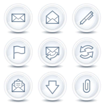 webmail: E-mail web icons, white glossy circle buttons