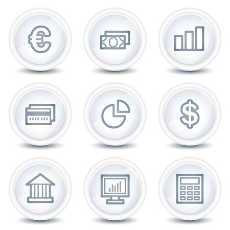 calc: Finance web icons set 1, white glossy circle buttons